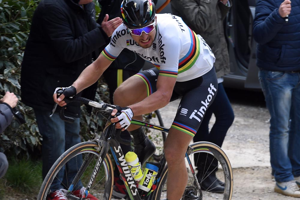 Peter Sagan attacks in the 2016 Strade Bianche